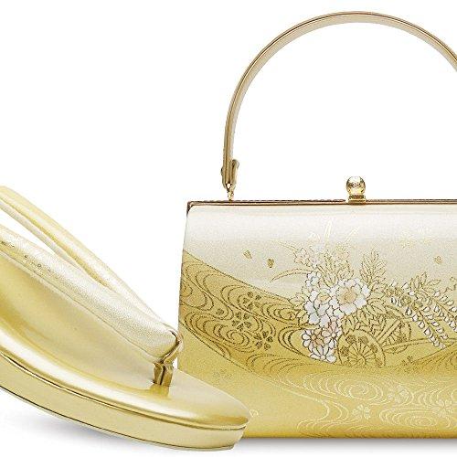 【2014年】高級草履バッグセット《2色》エナメル ゴールド&シルバー (GOLD)