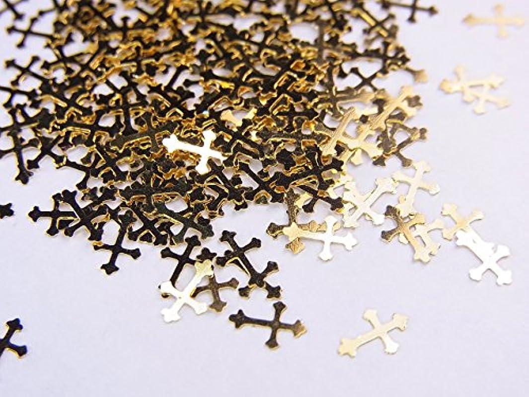 処理機動レジデンス【jewel】薄型ネイルパーツ ゴールド クロス十字架10個