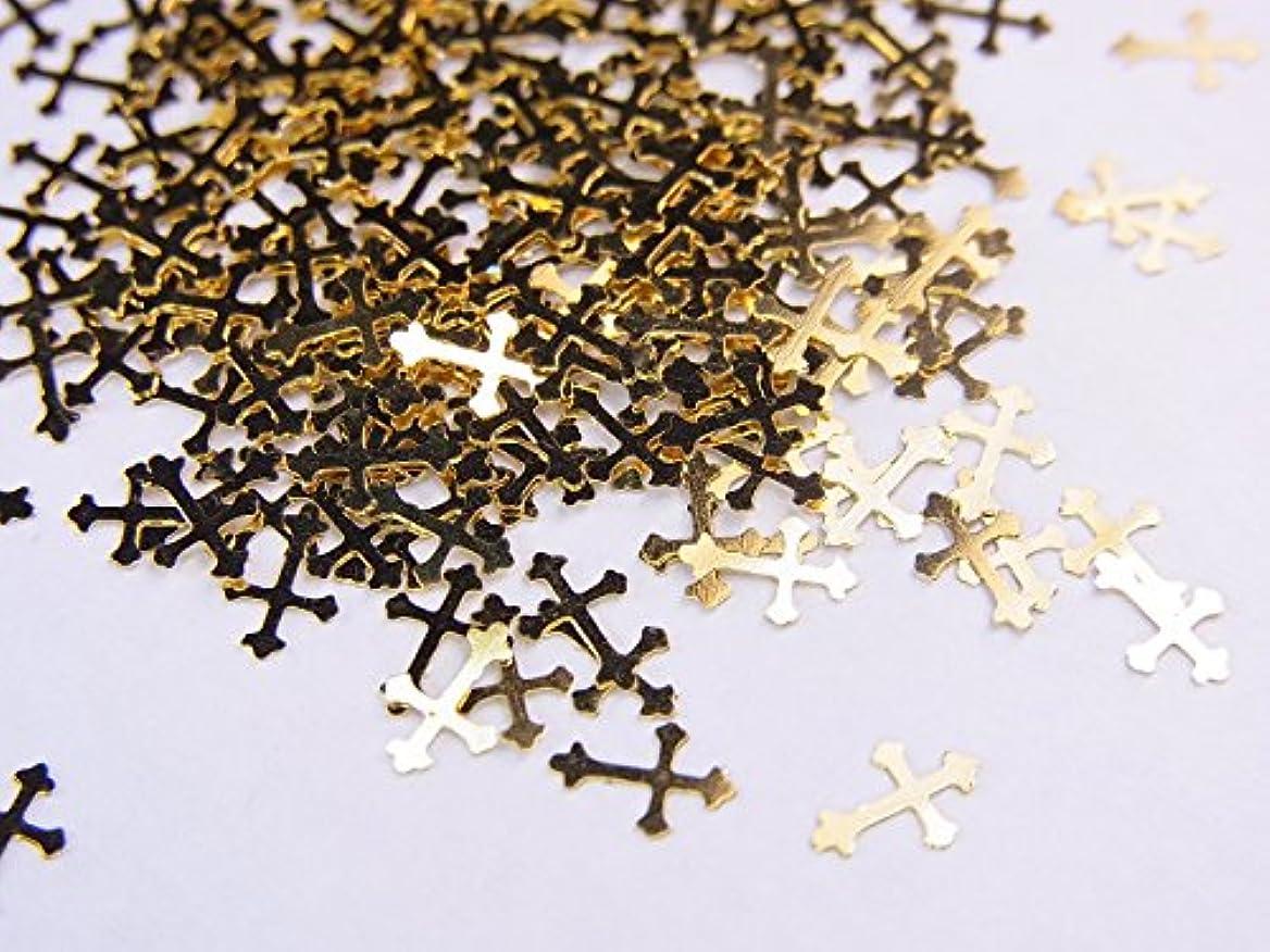 議論する生じるハント【jewel】薄型ネイルパーツ ゴールド クロス十字架10個