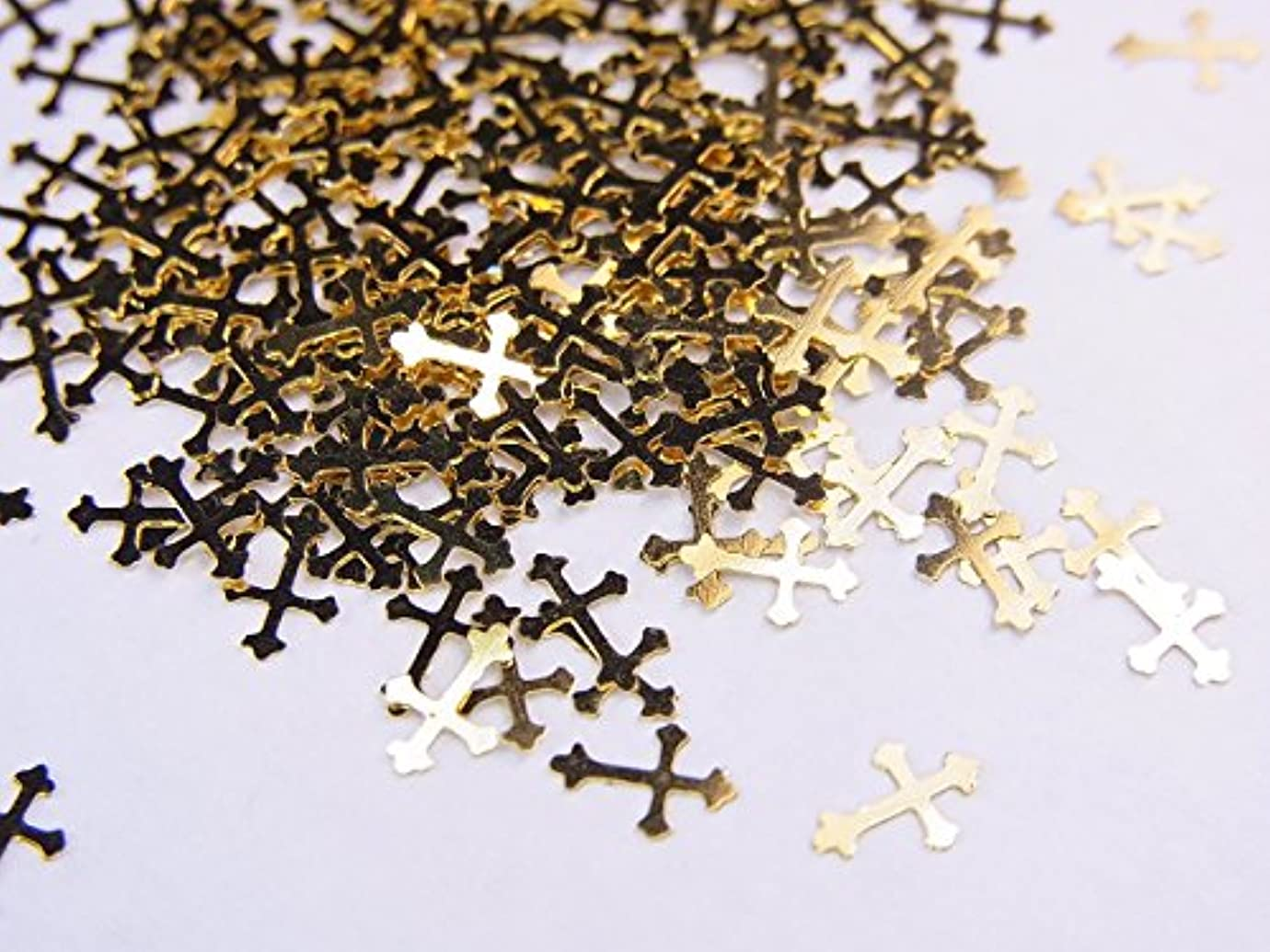【jewel】薄型ネイルパーツ ゴールド クロス十字架10個