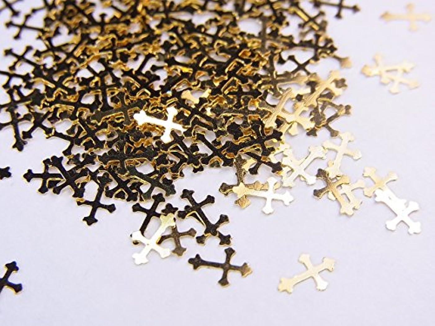 経済的寛大な運命的な【jewel】薄型ネイルパーツ ゴールド クロス十字架10個