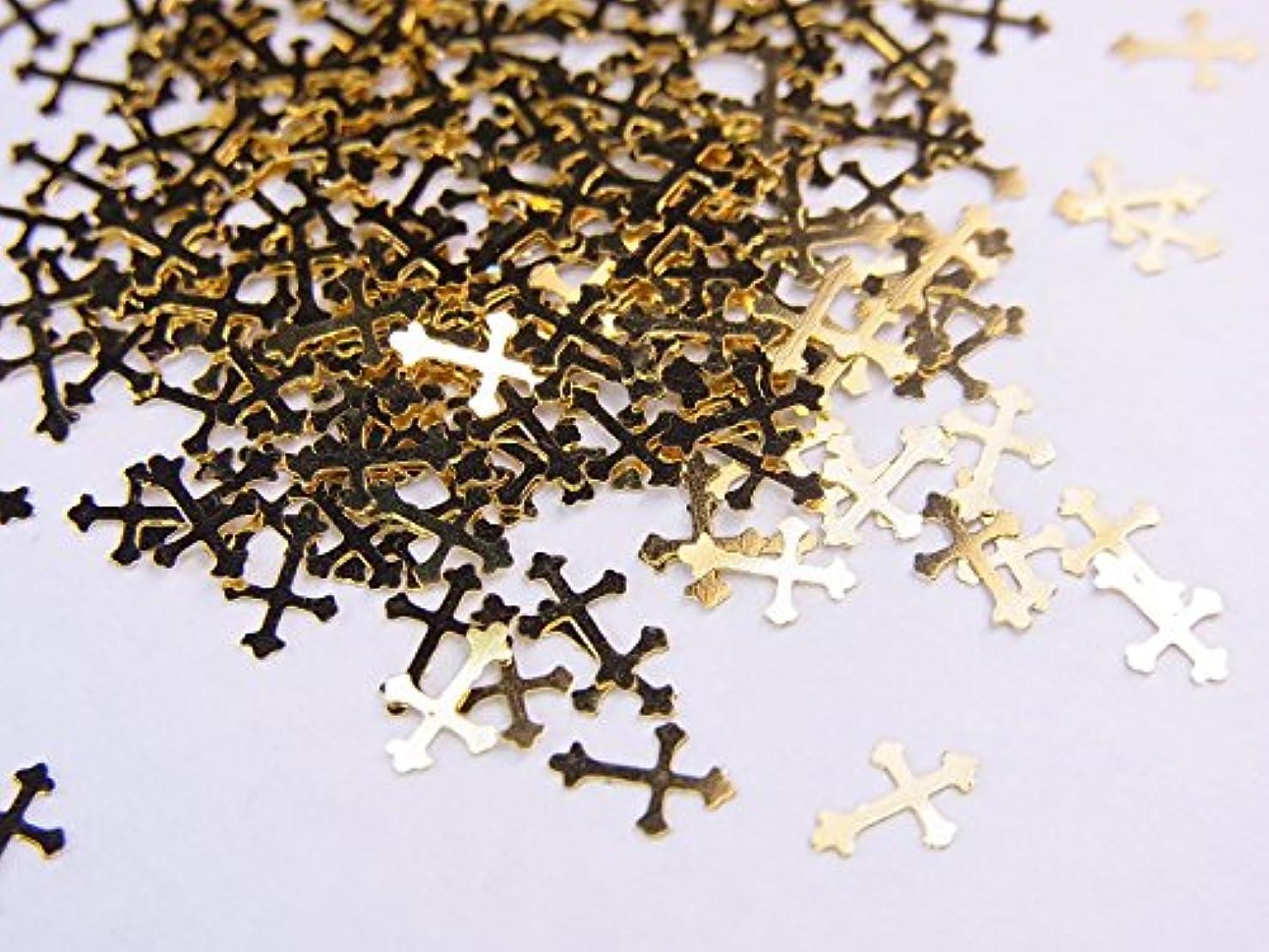 伝える子孫チェリー【jewel】薄型ネイルパーツ ゴールド クロス十字架10個