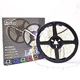 ぶーぶーマテリアル ホワイト 300連 高輝度 LED テープ 5m 白 12V 白ベース 防水 イルミネーション 電装品