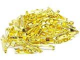 ゴールド カラー ブローチ ピン 100個 セット 15 20 25 30 mm アクセサリー 手芸 パーツ (25mm)