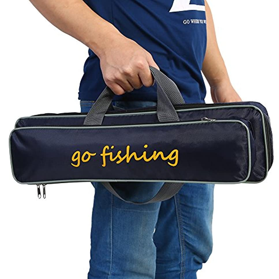 切り離す悪意のある名目上のポータブル防水釣りロッドキャリア釣り竿ケースリールバッグケースストレージバッグボックス持ち運びホルダータックルバッグバックパック旅行の調節可能なストラップ付き