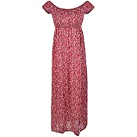 Fitibest Women's Short Sleeve Boho Swing Off Shoulder Floral Print Party Long Maxi Beach Dress (XXL, Red)