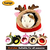 MYIDEA Guinea Pigs House,Hedgehog Nest,Rabbits, Chinchillas & Small pet Animals Bed/Cube/House, Habitat, Lightweight, Durable, Portable, Cushion Big Mat for Party Gifts (Small Pet - L, Red elk)
