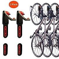 reliancer 4色折りたたみ式垂直バイクラック壁マウント自転車サイクルストレージラックSingleバイクフックウォールバイクハンガーホルダーW/タイヤトレイガレージShed小売アプリケーション 2 Pack Red&Black