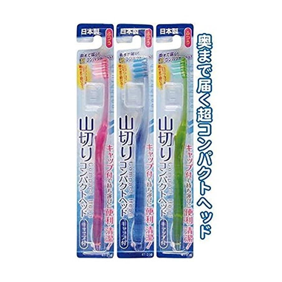 実験感謝祭バットコンパクトヘッドキャップ付歯ブラシ山切ふつう日本製 [12個セット] 41-216