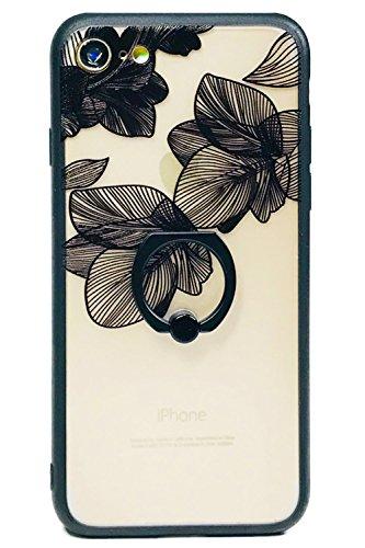 iphone アイフォン ケース レース調 花柄 フラワー iPhone7/8 ブラック