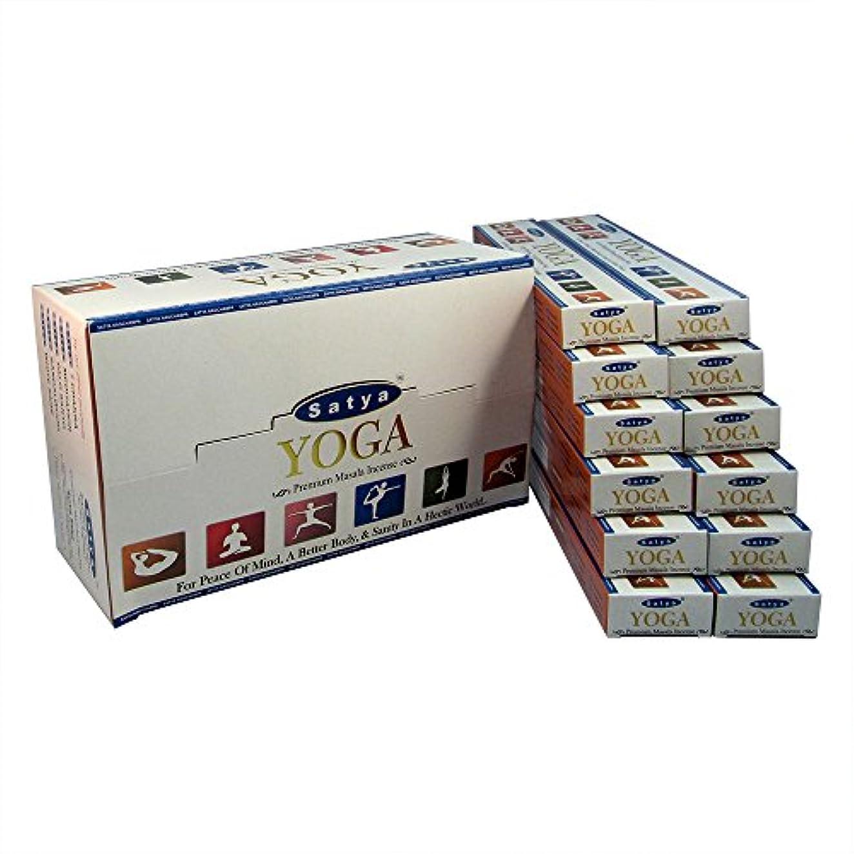 牛肉リーズ悪名高いSatya プレミアム ヨガ お香スティック アガーバッティ 180グラム ボックス 各15グラム 1箱12パック プレミアム品質