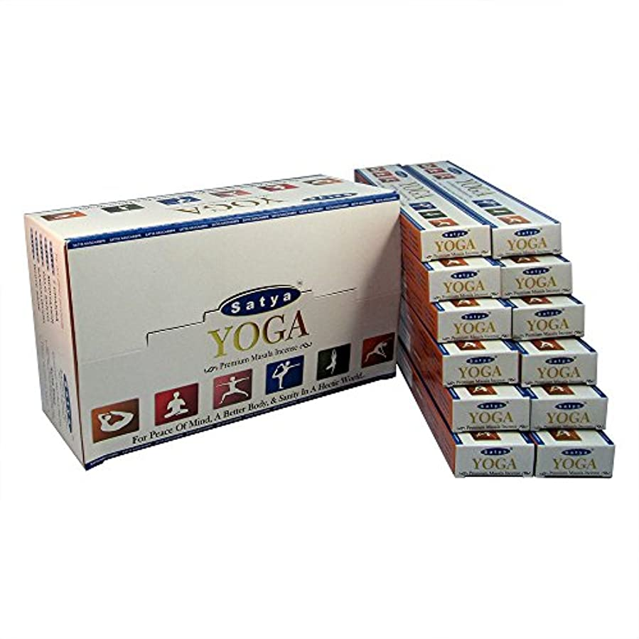 残り告白する移動Satya プレミアム ヨガ お香スティック アガーバッティ 180グラム ボックス 各15グラム 1箱12パック プレミアム品質