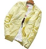 (リスキス) riskiss メンズ シンプル 無 地 きれいめ スイングトップ ジャケット シャツ生地 襟 薄手 長袖 アウター M L XL XXL (M, 黄色)
