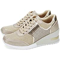 AjouFemme High Heeld Wedge Sneakers for Women - Ladies Hidden Sneakers Lace Up Shoes, Best Chioce for Casual and Daily Wear SM1-GOLD-8