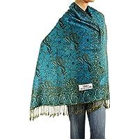 Falari Women's Woven Pashmina Shawl Wrap Scarf 80 X 27 Turquoise A05-13