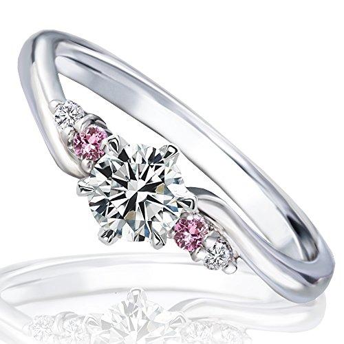 [ミワホウセキ] miwahouseki プロポーズ 婚約 指輪 ピンクサファイア 付き 最高の輝きを放つ トリプル エクセレント カット ダイヤモンド 0.3ct リング 鑑定書付 9号 [M220PS]