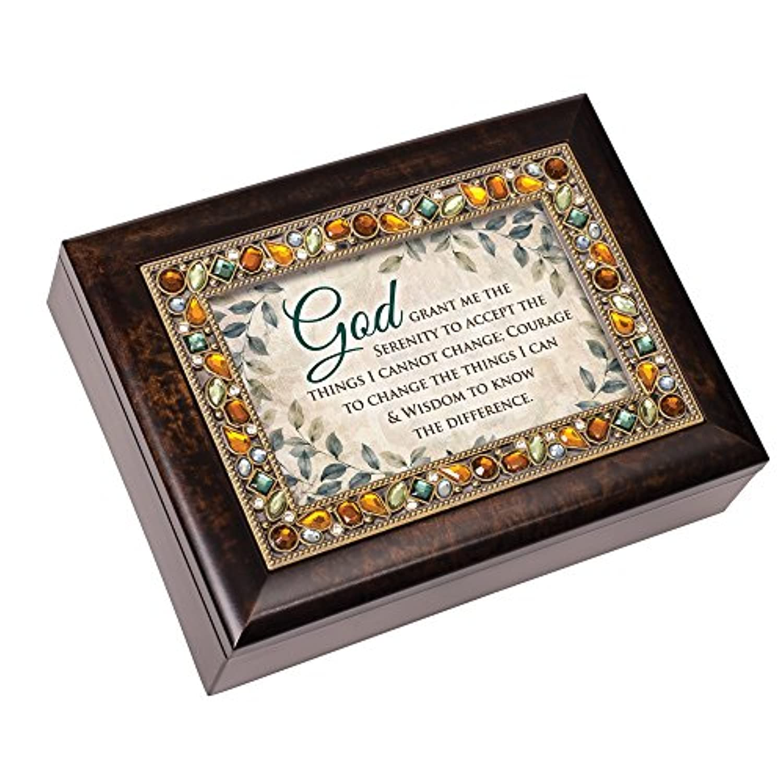 God Grant Me The Serenity Jeweled Amber Earth Tones記念品音楽ボックスPlays Amazing Grace