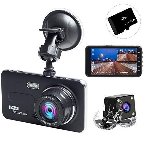 ドライブレコーダー 前後カメラ 2019最新版 32GB SDカード付き 永久保証付き 1080PフルHD 1800万画素 LEDライト付き 4インチ 170°広視野角 SONYセンサー/レンズ 常時録画 G-sensor( WDR)