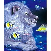 ダイヤモンド刺繍Lion Paintingセット動物DIY趣味Needlework刺繍魚Squares壁装飾 50cm*60cm XU559_50cm¡Á60cm