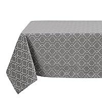 DeconovoジャカードモロッコテーブルクロスSpillproofファブリックテーブルクロスのダイニングテーブル 54x72 Inch グレー TA2609-2
