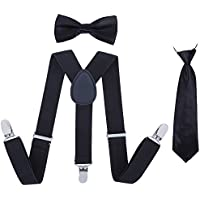 Boys Suspender Bowtie Necktie Sets - Adjustable Elastic Classic Accessory Sets for Kids Boys & Girls
