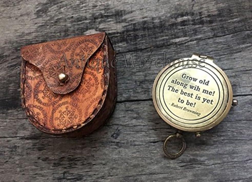 エレガント一元化する文法アンティーク真鍮Workingコンパスポケットコンパス航海Marine withレザーボックスヴィンテージハンドメイド真鍮コンパスwith Stampedレザーケース