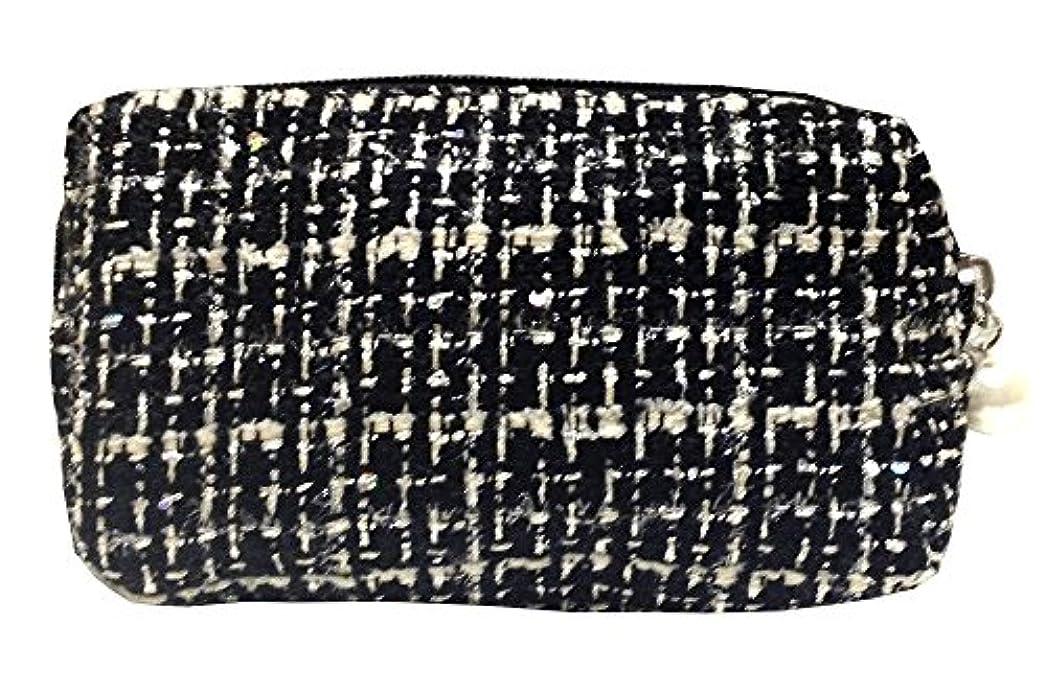 熱帯のスチュワード聖人化粧ポーチ 編み柄A BKxホワイト【9070】