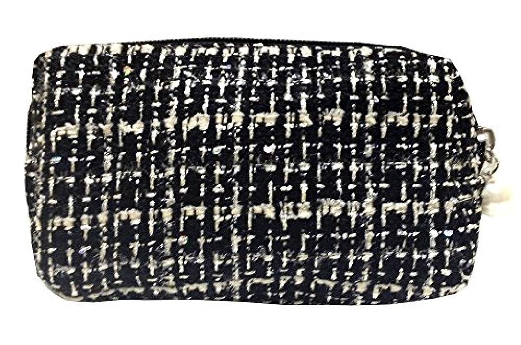 収束する寝てる伝説化粧ポーチ 編み柄A BKxホワイト【9070】