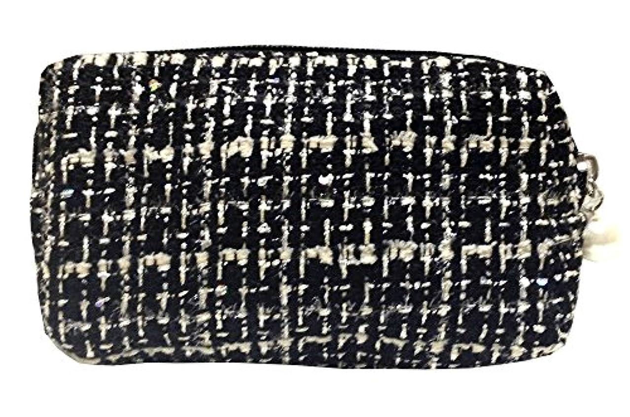 類人猿鉛筆写真を撮る化粧ポーチ 編み柄A BKxホワイト【9070】