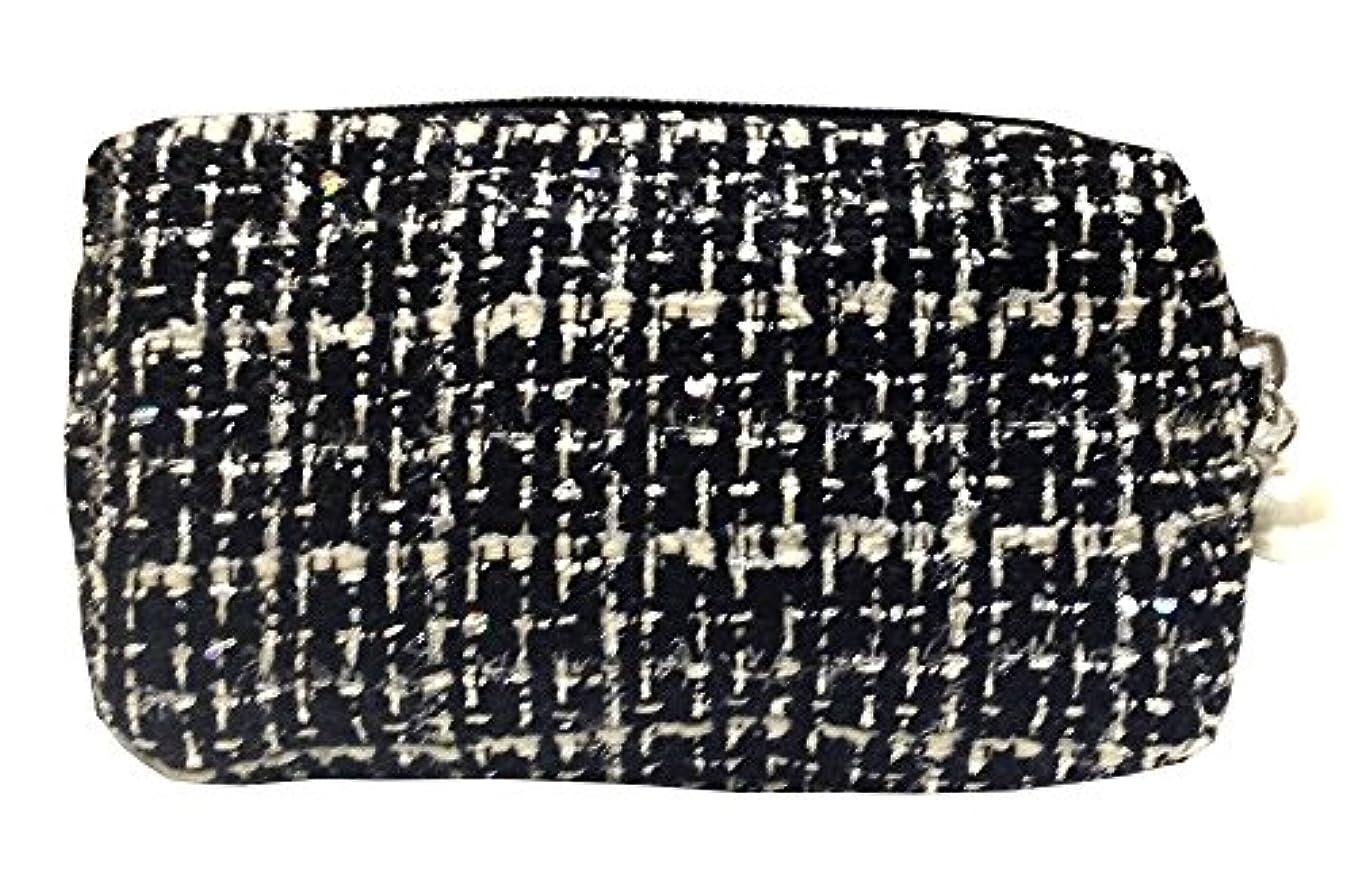 フルート耐えられるグッゲンハイム美術館化粧ポーチ 編み柄A BKxホワイト【9070】
