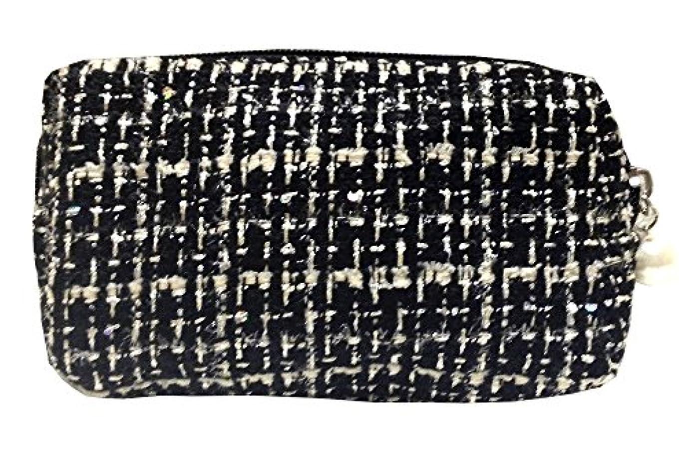 屋内ブラインド驚くばかり化粧ポーチ 編み柄A BKxホワイト【9070】