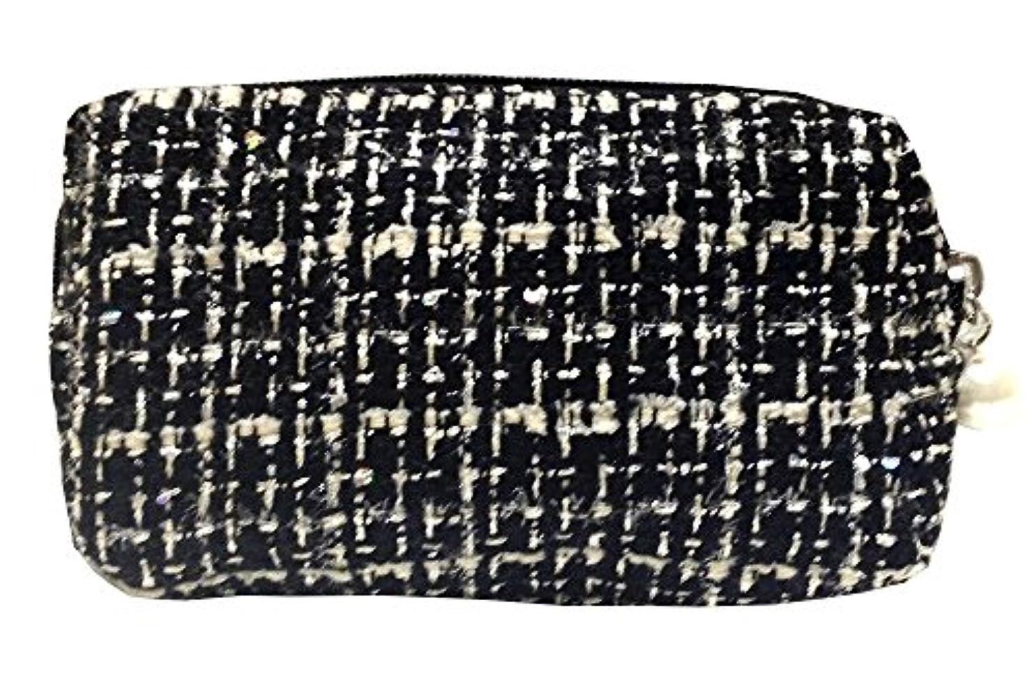 ローンキロメートル本質的ではない化粧ポーチ 編み柄A BKxホワイト【9070】