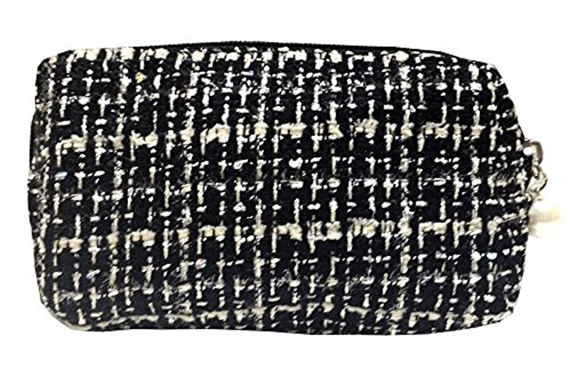化粧ポーチ 編み柄A BKxホワイト【9070】