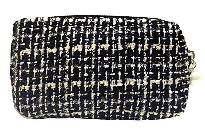 四回概要不器用化粧ポーチ 編み柄A BKxホワイト【9070】