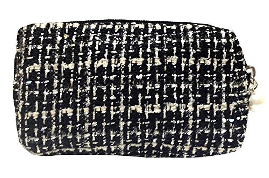 実質的防止お茶化粧ポーチ 編み柄A BKxホワイト【9070】