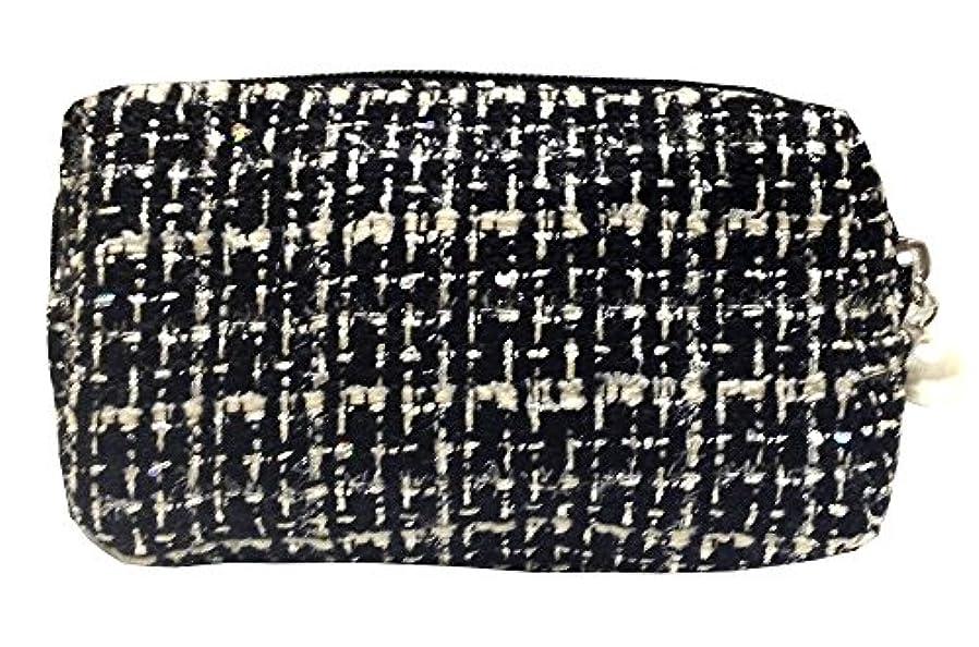 学校の先生彼女の欠伸化粧ポーチ 編み柄A BKxホワイト【9070】