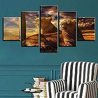 Lixiaoer キャンバスアートモジュラーフレームワーク壁用リビングルーム5ピース動物ライオン絵画現代の装飾現代抽象画-20X35Cmx2,20X45Cmx2,20X55Cmx1