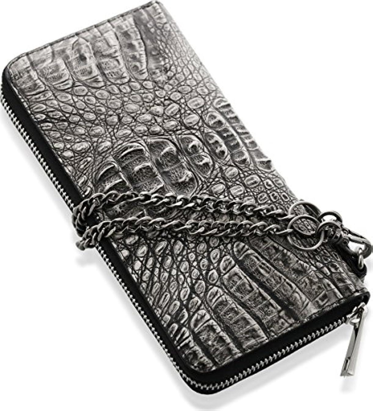 平和的委託潤滑するカイマン 財布 長財布 ラウンドファスナー マット加工 背ワニ ウォレットチェーン付 ブラックホワイト