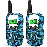 Wcocow トランシーバー子供ギフト Walkie Talkies 無線機 2台セット LED懐中電灯 フラッシュライト 無線 特定小電力トランシーバー 低放射 迷彩色 (ブルー)