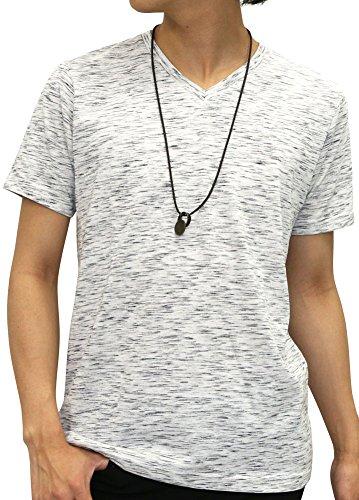 [オーバルダイス] Tシャツ ネックレス セット 半袖 ゆる Vネック 無地 メンズ キナリ LL