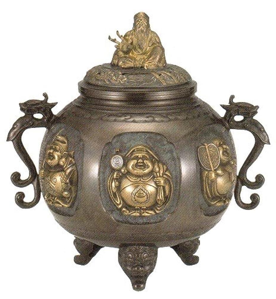 犯人テクスチャー傷つきやすい香炉 特大 七福神(さしメッキ)高岡銅器 青銅製 高さ31×幅30×奥行24.5cm