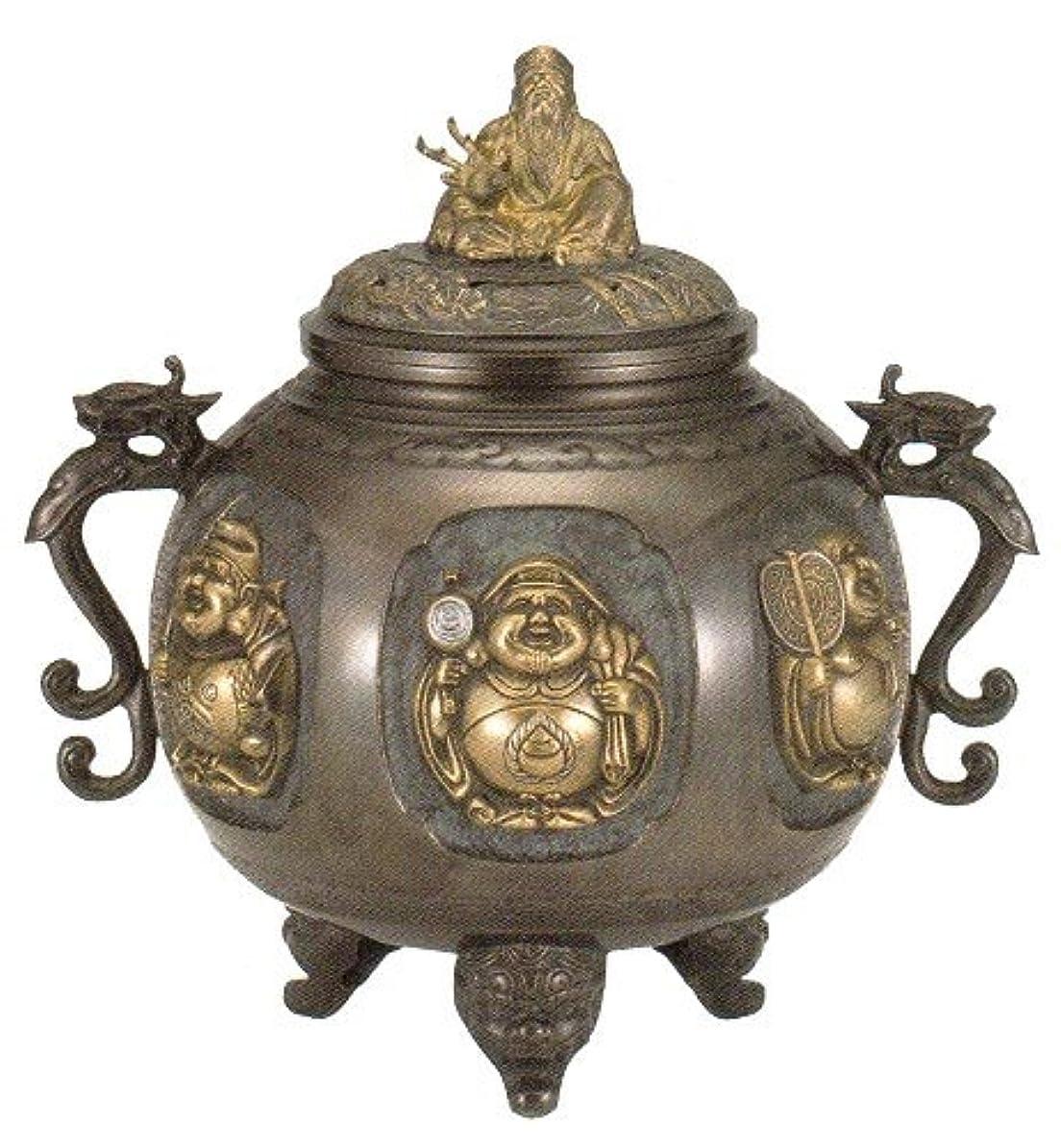 葉を集めるフレア影香炉 特大 七福神(さしメッキ)高岡銅器 青銅製 高さ31×幅30×奥行24.5cm