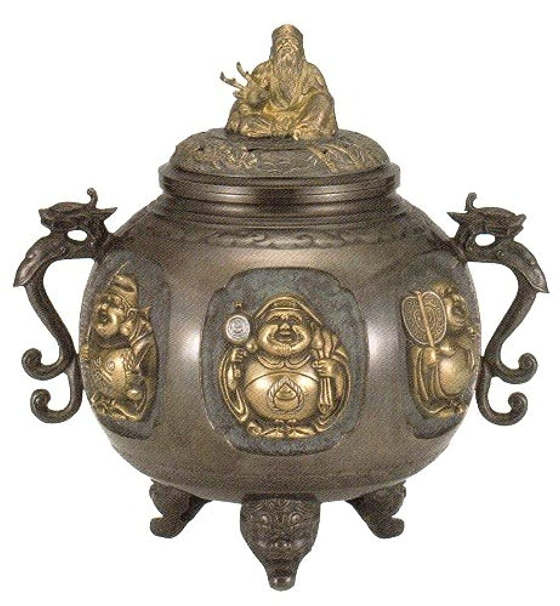 予定曲マトリックス香炉 特大 七福神(さしメッキ)高岡銅器 青銅製 高さ31×幅30×奥行24.5cm