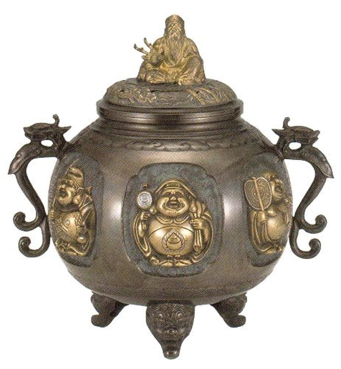 香炉 特大 七福神(さしメッキ)高岡銅器 青銅製 高さ31×幅30×奥行24.5cm