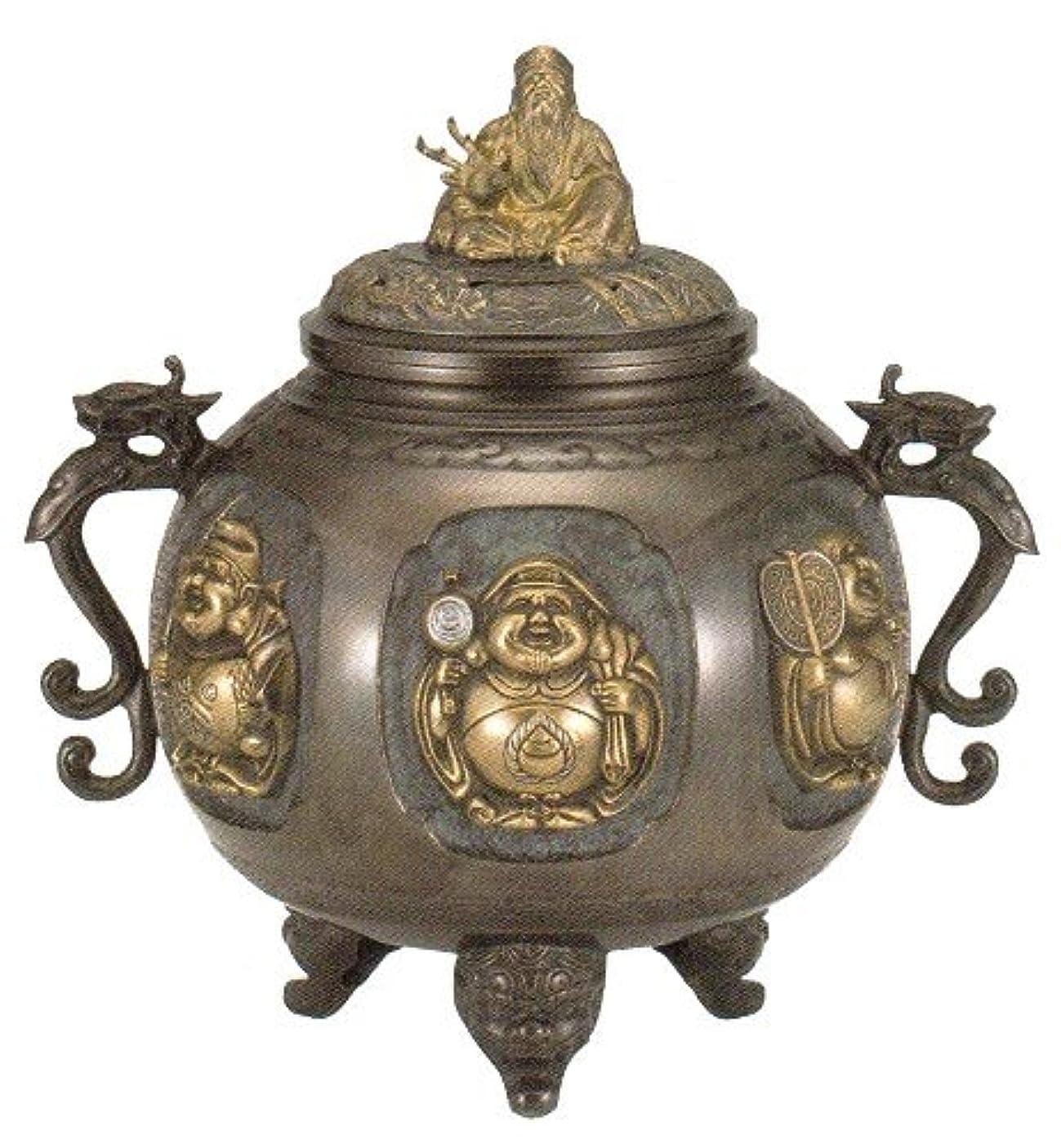 信頼赤字製作香炉 特大 七福神(さしメッキ)高岡銅器 青銅製 高さ31×幅30×奥行24.5cm