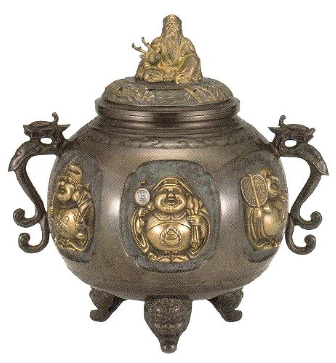 釈義余裕がある講堂香炉 特大 七福神(さしメッキ)高岡銅器 青銅製 高さ31×幅30×奥行24.5cm