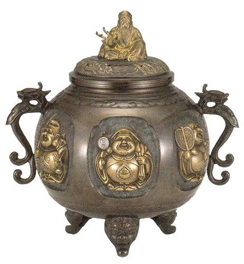 無線ペン土曜日香炉 特大 七福神(さしメッキ)高岡銅器 青銅製 高さ31×幅30×奥行24.5cm