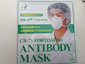 高機能防護系抗体マスク「ff(フォルテシモ)」CR75|ダチョウ抗体マスク男性用20枚