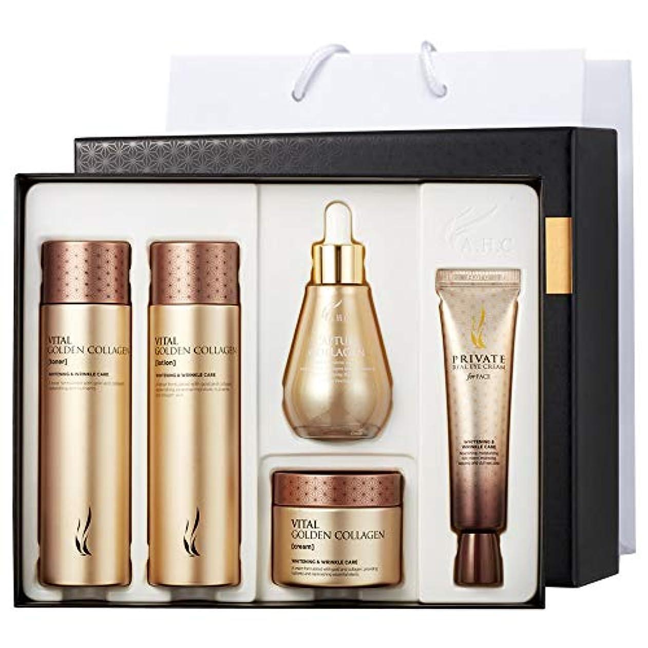 建築清める二十A.H.C Vital Golden Collagen Special Skin Care Set +Shopping Bag バイタルゴールデンコラーゲンフェイスケアセット トナー/ローション/クリーム/アイクリーム/アンプル [並行輸入品]