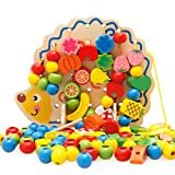 Hometown ひもとおし 知育玩具 木製 DIY 積み木 玩具 男女共用 出産祝い 学習玩具 収納袋付き 82PCS (ヘッジホッグ)